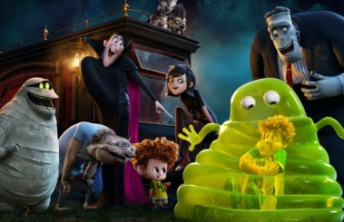 Murray (Keegan-Michael Key), Wayne (Steve Buscemi), Dracula (Adam Sandler), Dennis (Asher Blinkoff), Mavis (Selena Gomez), Jonathan (Andy Samberg) inside the Blob and Frank (Kevin James) in Columbia Pictures and Sony Pictures Animation's HOTEL TRANSYLVANIA 2.