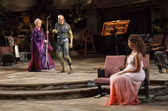 Kate Burton as Propera, Manoel Felciano as Caliban, and Nora Carroll as Miranda in The Tempest, by William Shakespeare, runsJune 17 – July 22, 2018 at The Old Globe. Photo by Jim Cox.