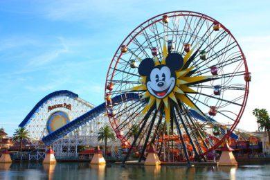 Ferris Wheel and a roller coaster ride taken at Disneyland's California Adventure in Anaheim, CA on March 11, 2011
